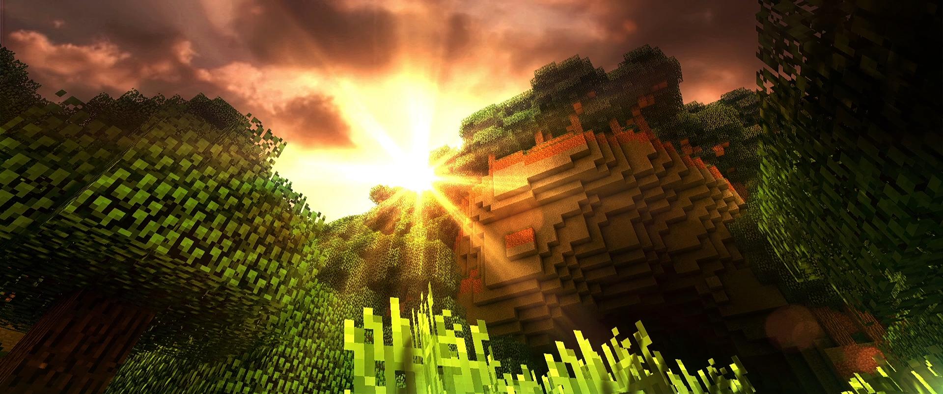 Fond Décran Minecraft Coucher De Soleil
