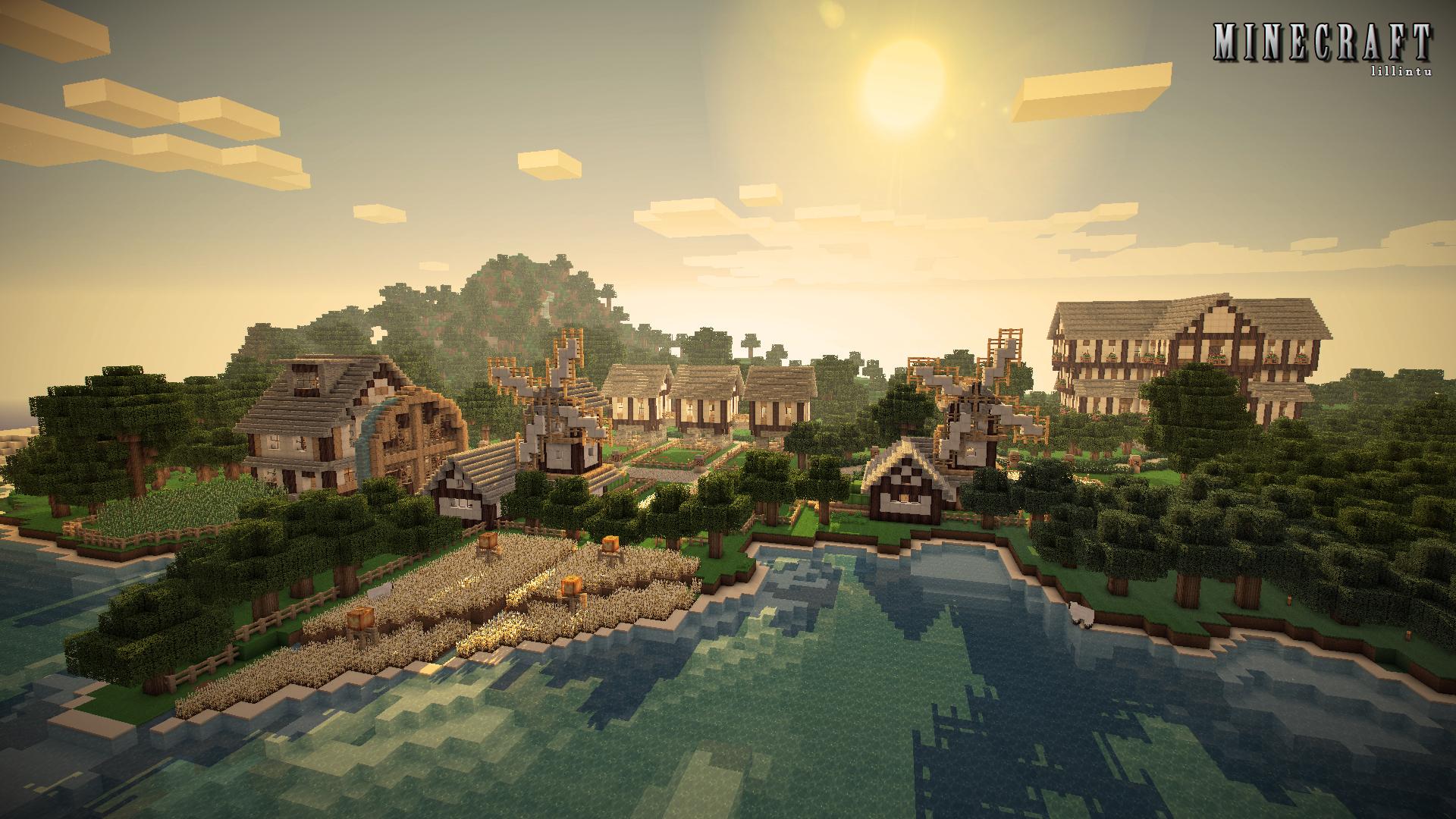 Fond d 39 cran minecraft petit village for Pack fond ecran hd