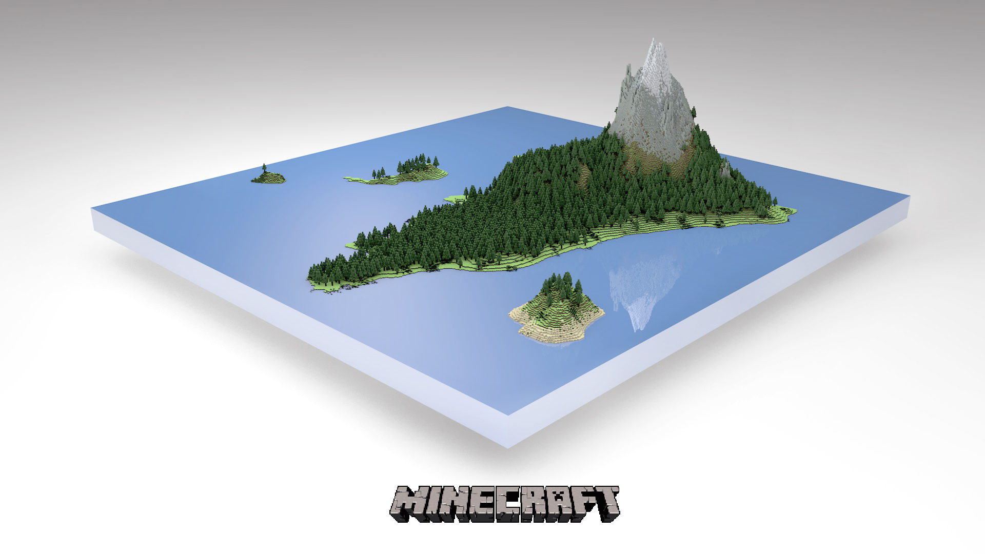 Minecraft Island 3D Wallpaper Image