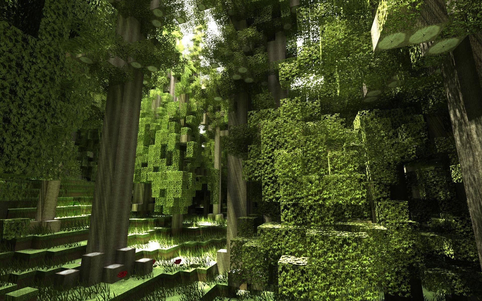 Fond Décran Minecraft Paysage De Forêt