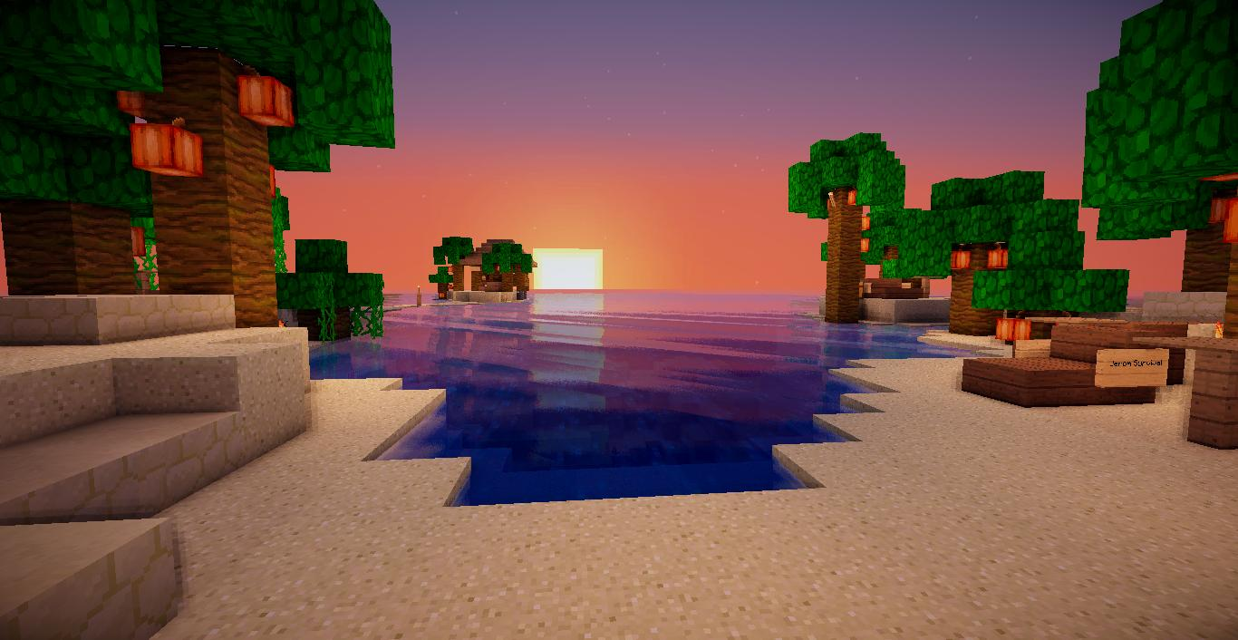 Minecraft Island Sunset Wallpaper Image