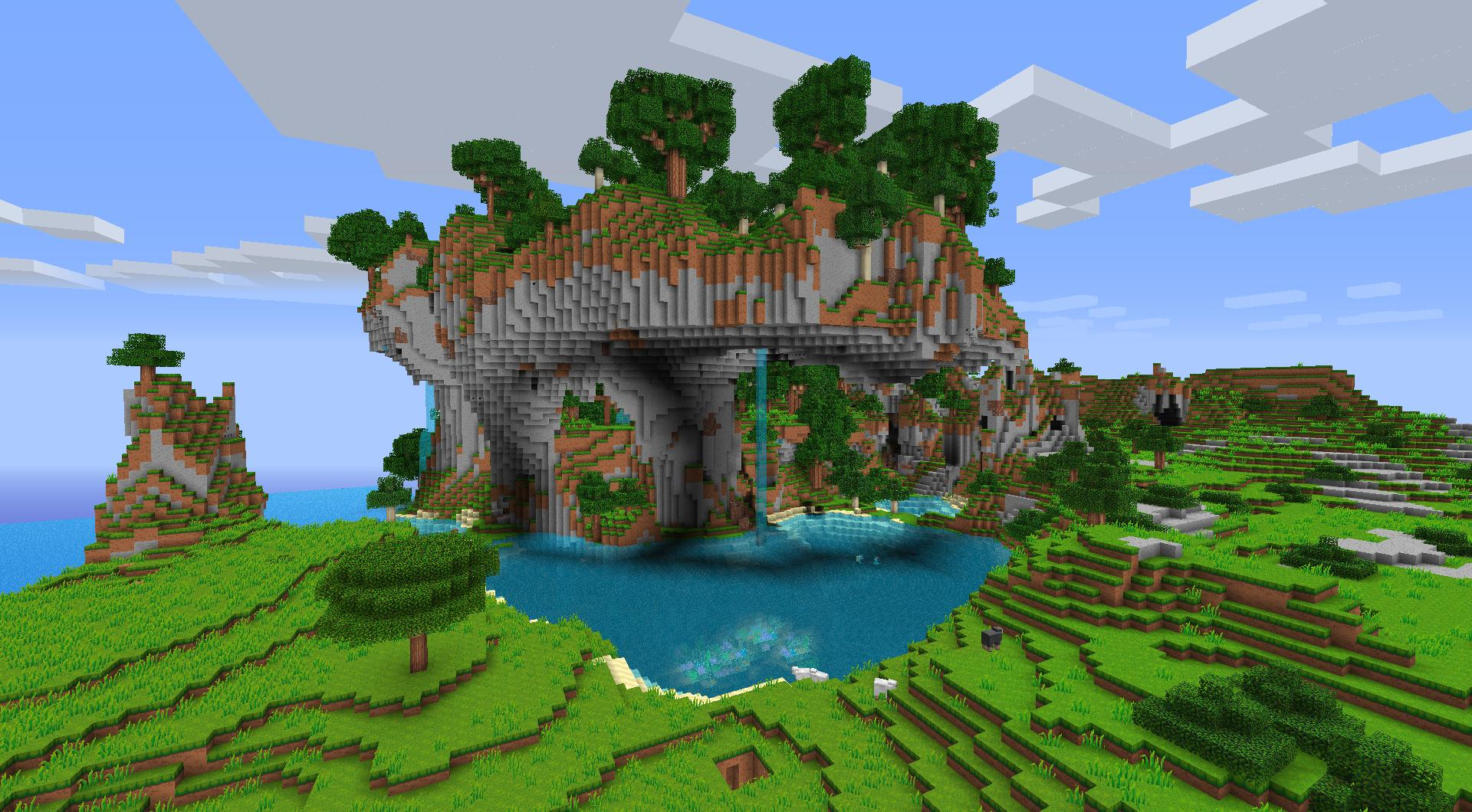 Fond Décran Minecraft Paysage De Cascade