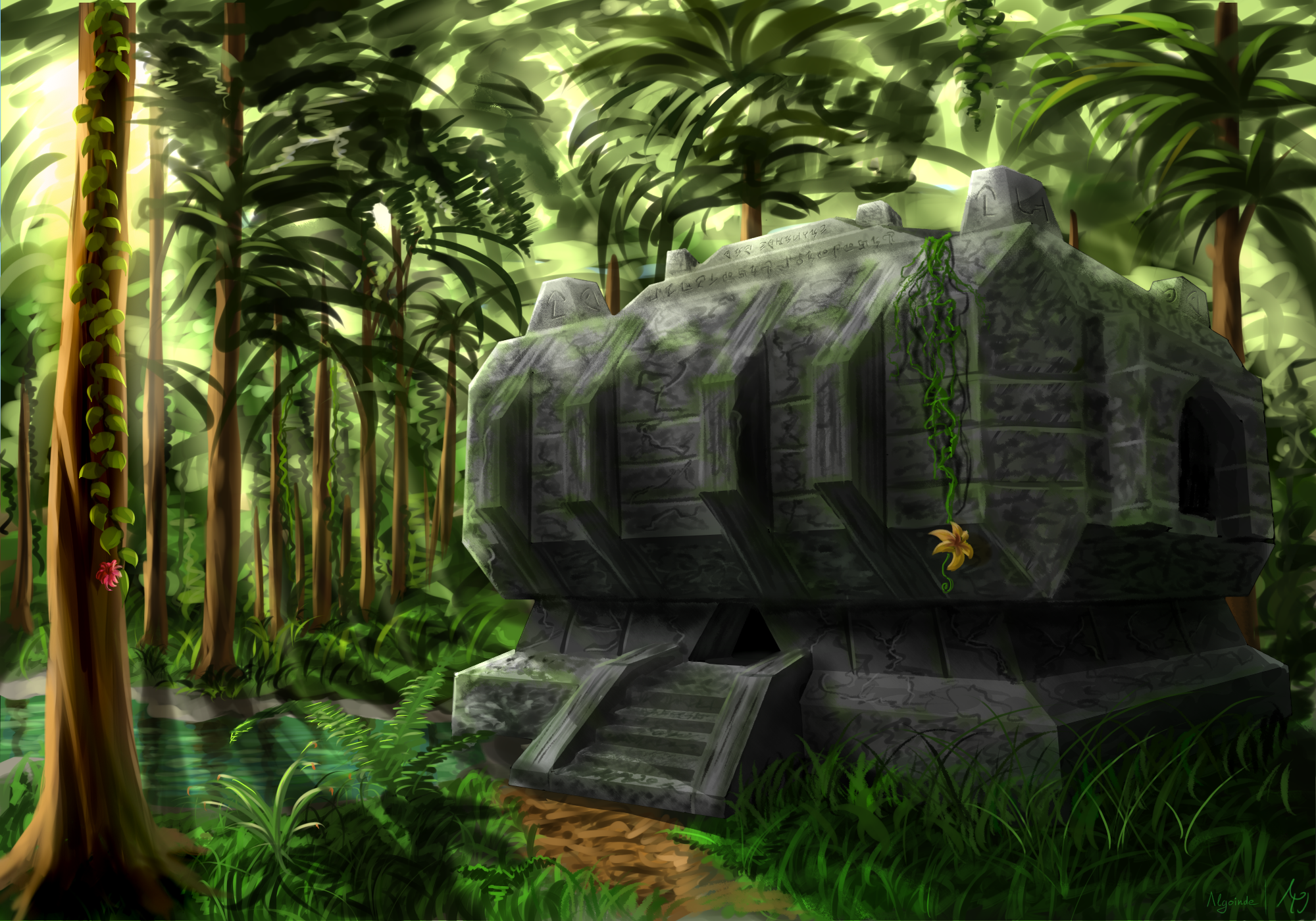 Wallpaper Minecraft Jungle Temple - The-Minecraft.fr