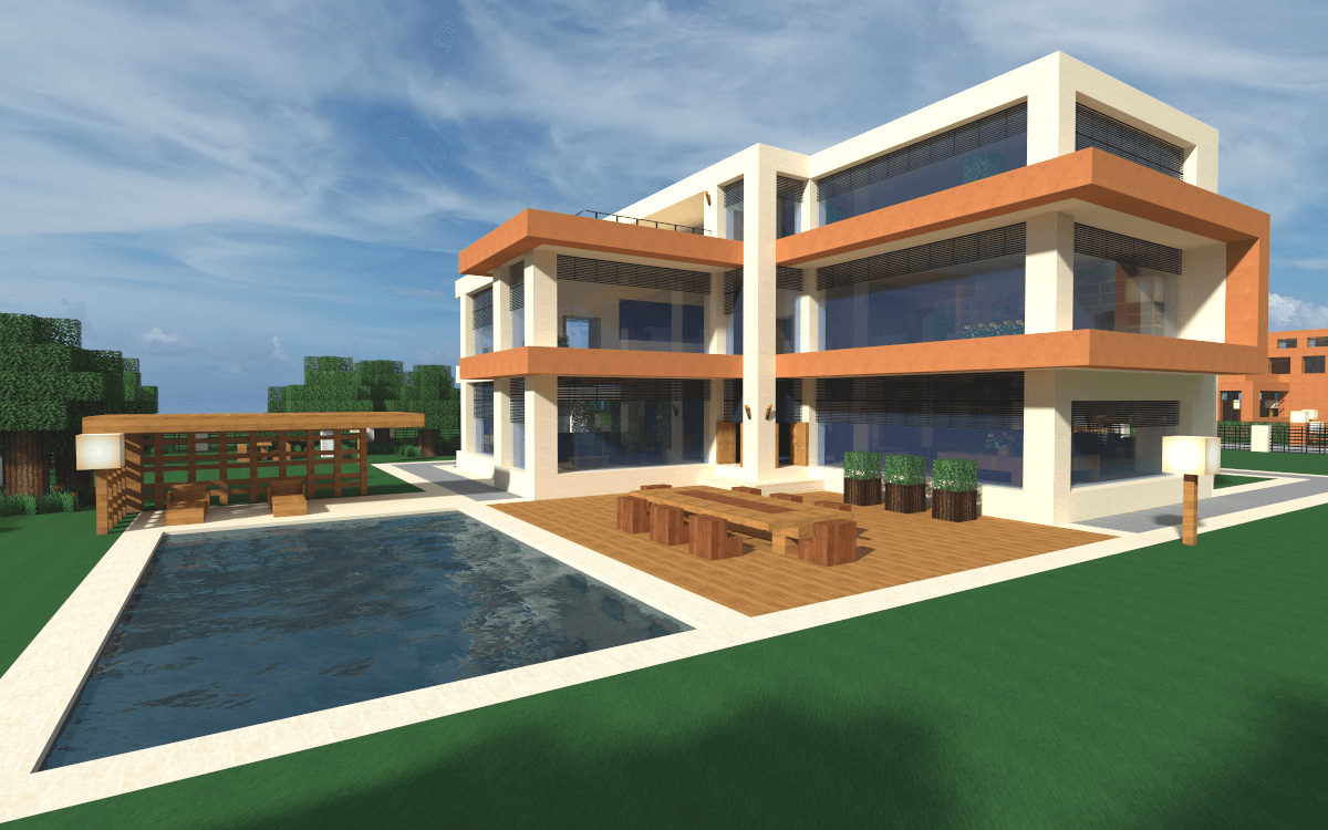 Wallpaper Minecraft Modern House - The-Minecraft.fr