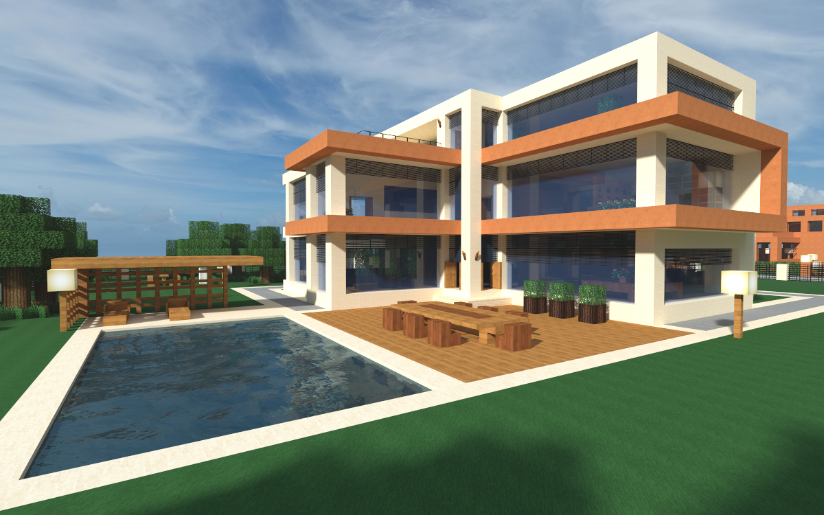 Minecraft Modern House Wallpaper Image