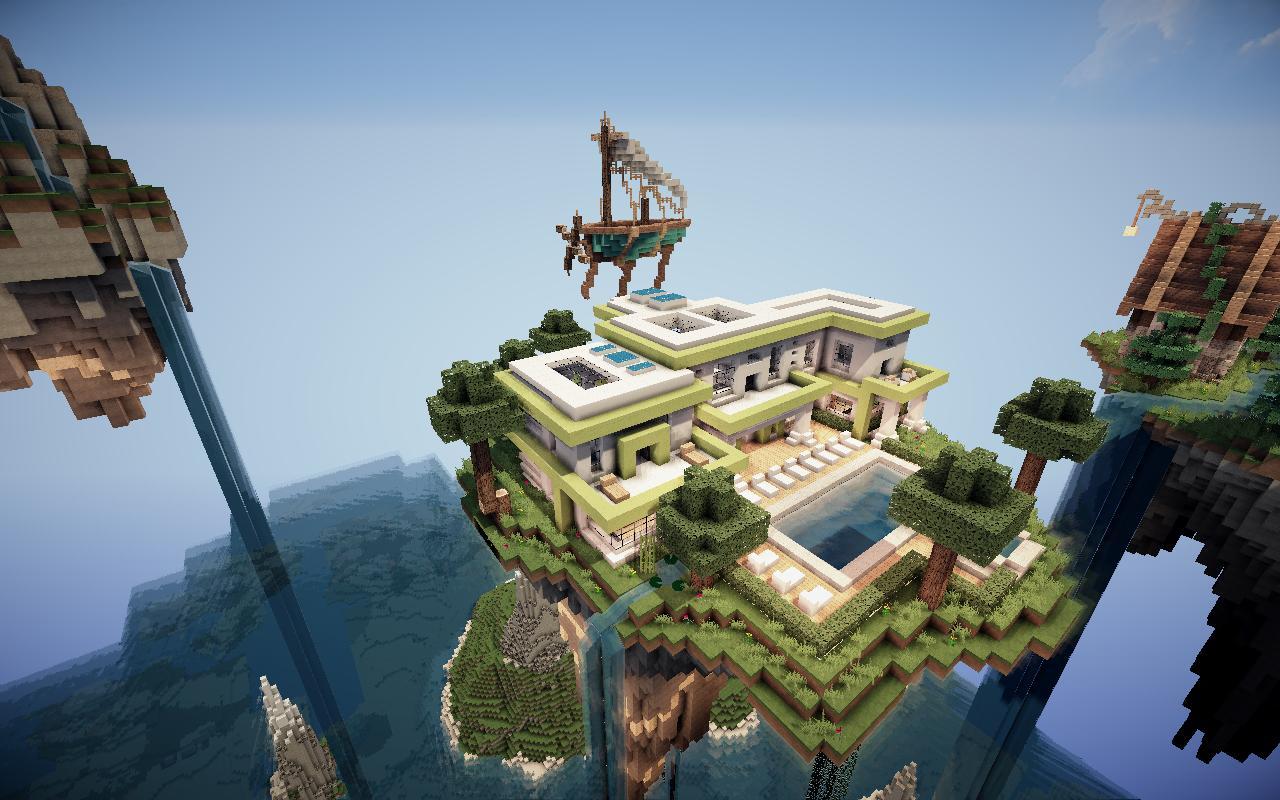 Fond d 39 cran minecraft maison moderne sur le flottante - Maison moderne sur minecraft ...