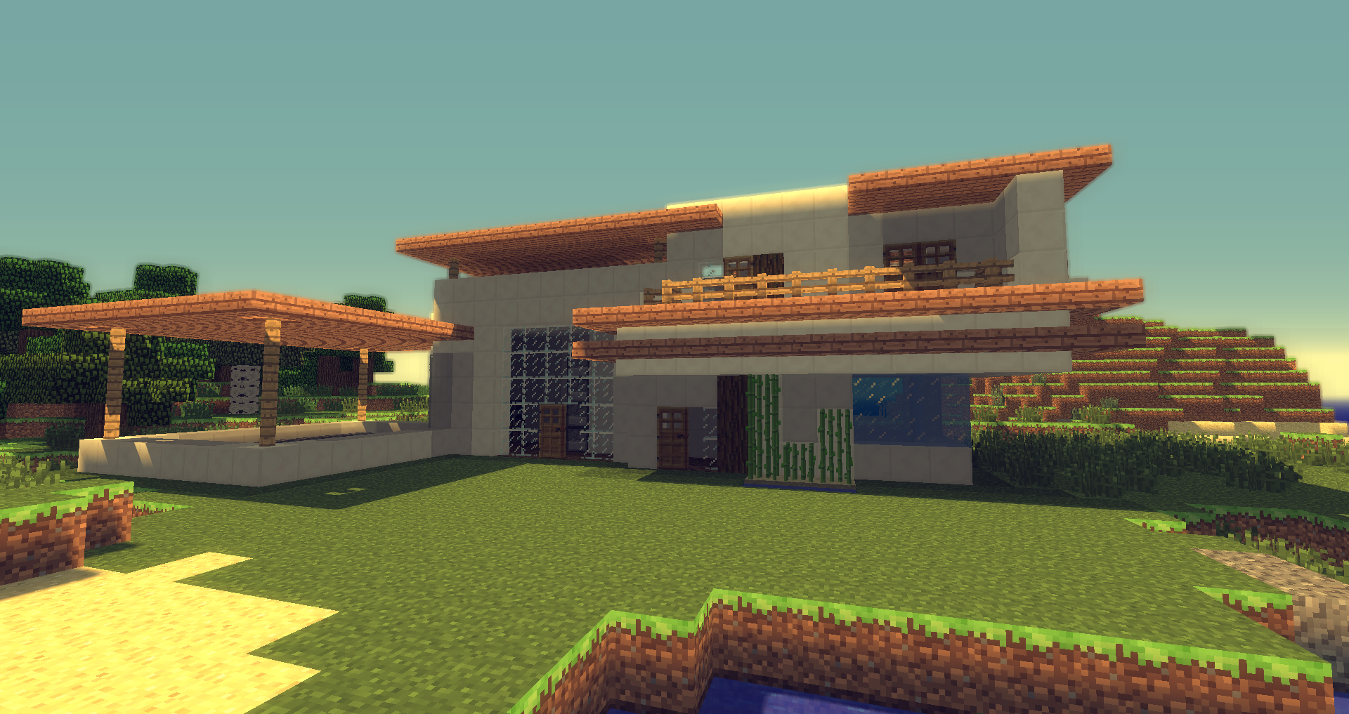 Mordern Minecraft Home Wallpaper Image