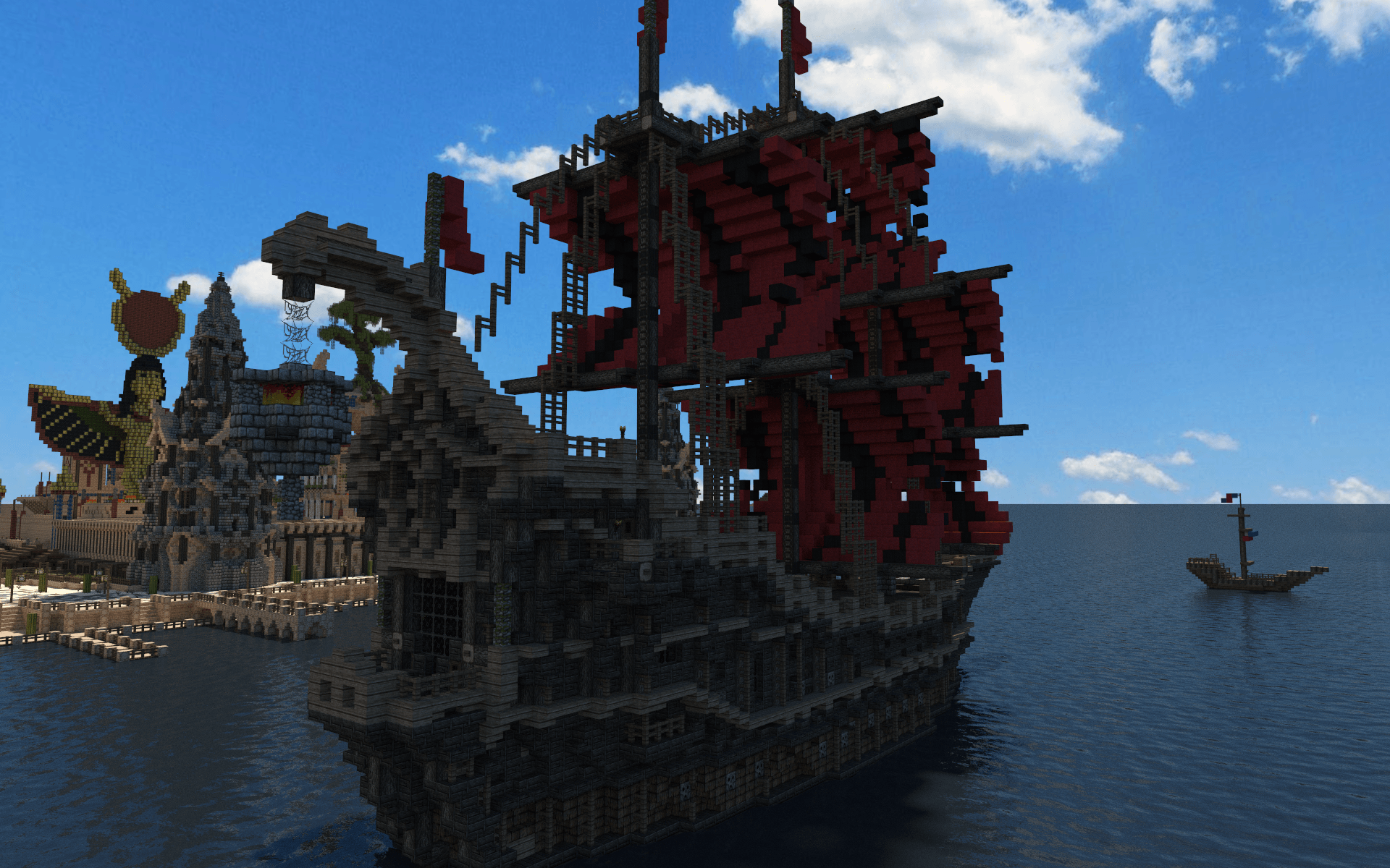 Fantasy Minecraft Ship Wallpaper Image